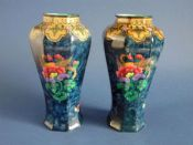 Pair of Keeling and Co 'Magnolia' Losol Ware Vases c1925